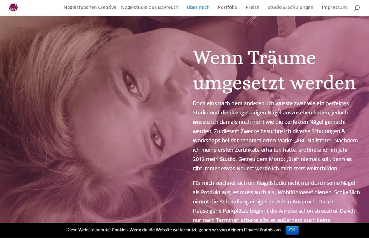 Internetseite des Nagelstübchen Creatives betreut durch Franken-Schmidt
