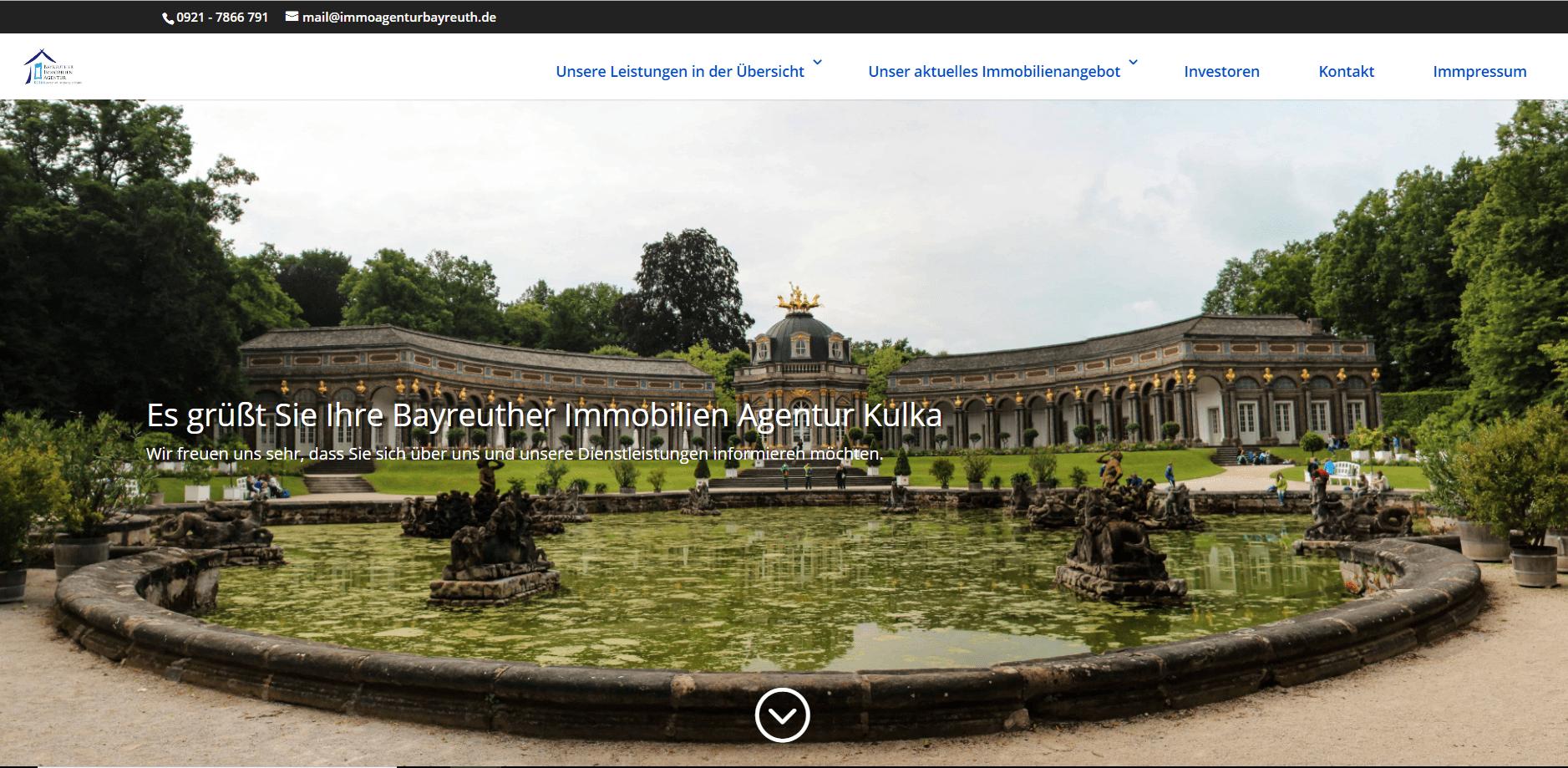 Aufwendiger Webauftritt der Bayreuther Immobilienagentur Kulka